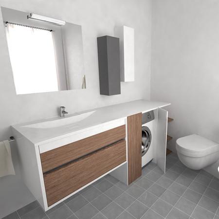 Mobile bagno rovere con lavatrice a scomparsa