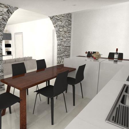 Cucina bianco opaco con tavolo di legno massiccio