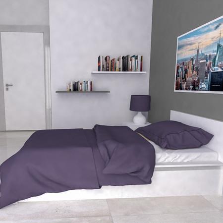 Camera da letto con mensole bianco opaco