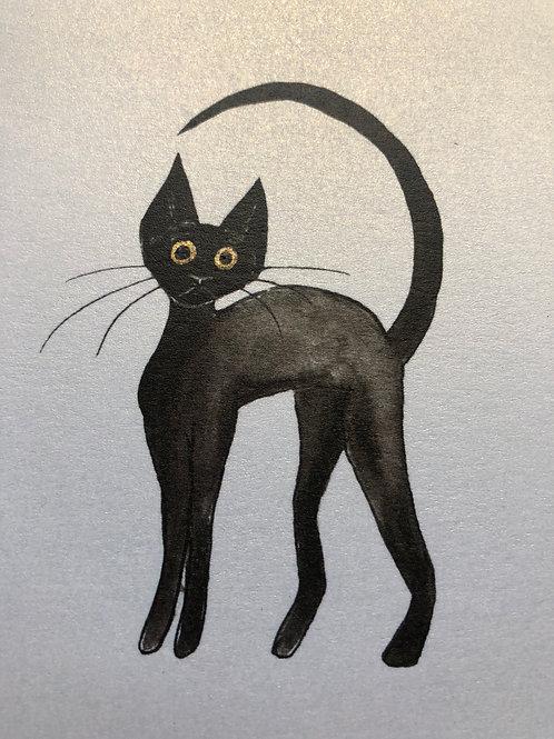 Cat illustration postcards on gold lustre paper