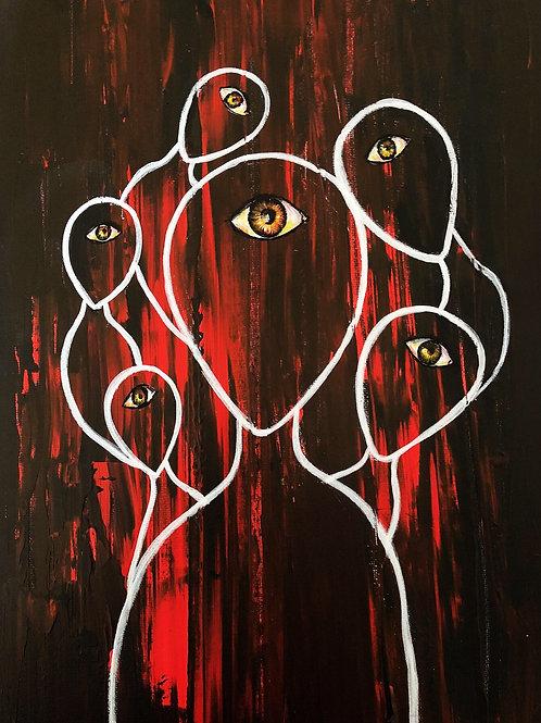All Seeing Eye , Original art canvas A4