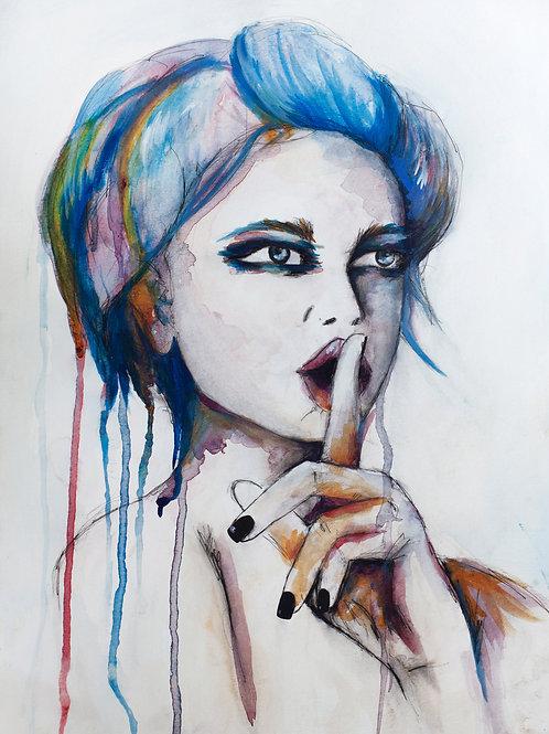 SHHH -Original Artwork (Ink & Watercolour)