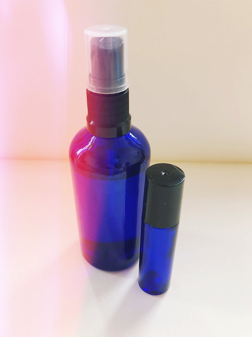 Presence essential oil and crystal room spray and roller package