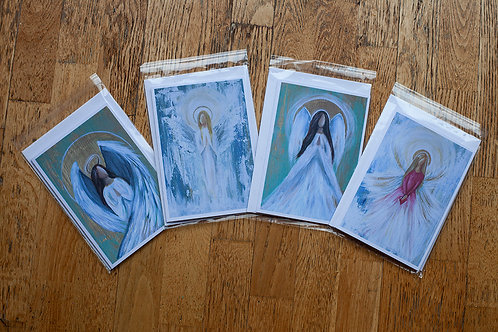 ANGELS A5 blank cards 4 pack