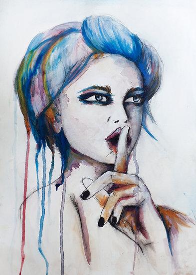 Shhh - Giclée fine art print A3