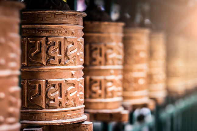 Closed up the prayer wheel at temple in