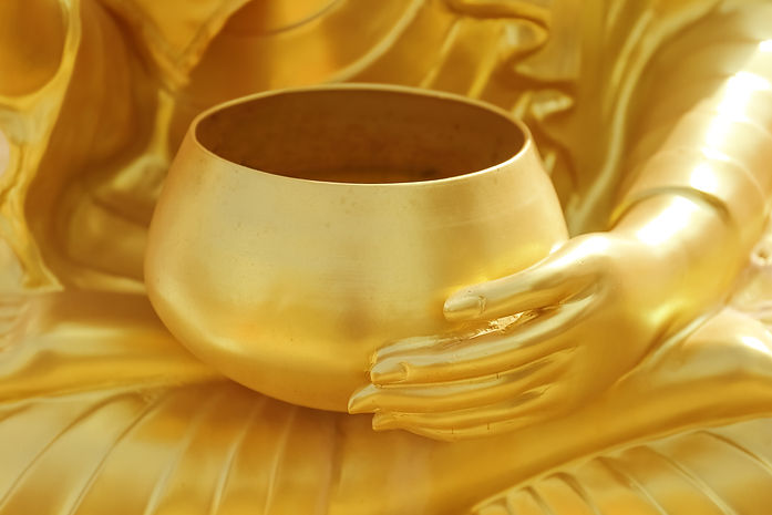 Stucco gold of Statue of Hand of buddha