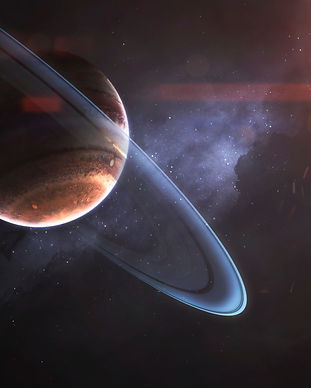 Glowing rings of gas giant, awesome scie