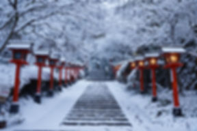 Kurama temple near kyoto with winter sno