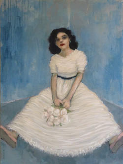 White Dress, Blue Wall