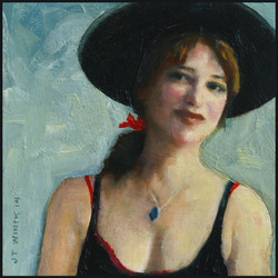 Woman in Black and Red