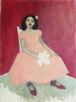 Pink Dress, Red Walls