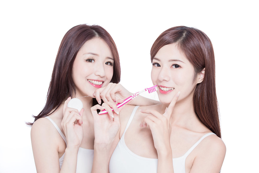 two beauty skincare women take brush and