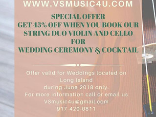 SPECIAL WEDDING CEREMONY AND COCKTAIL HOUR PACKAGE MUSIC DISCOUNT - BOOK OUR STRING DUO VIOLIN AND C