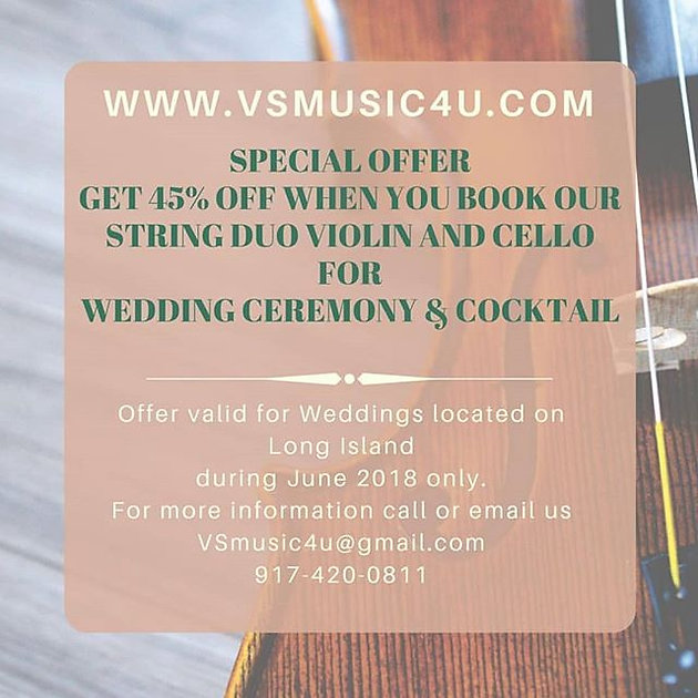 Special Wedding Ceremony And Cocktail Hour Package Music Discount