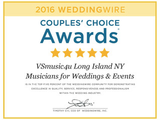 Long Island NY's Own VSmusic4u -Musicians for Weddings and Events Wins a WeddingWire Couples' Choice