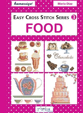 tuva publishing food, easy cross stitch series 3 food, cross stitch, maria diaz book