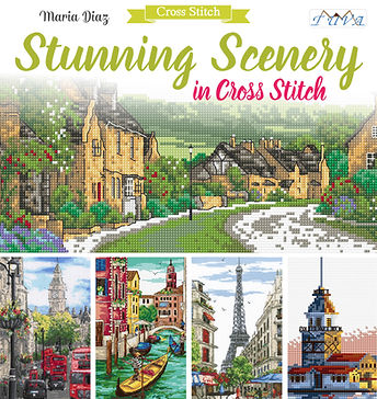 tuva publishing landscapes, cross stitch snunning scenery, maria diaz