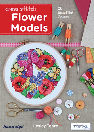 tuva publishing flower models, flower models, cross stitch flower models, lesley teare, cross stitch