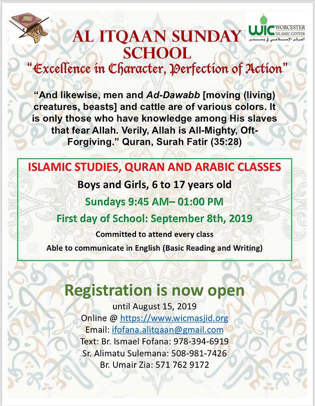 REGISTER NOW: Al Itqaan Sunday School