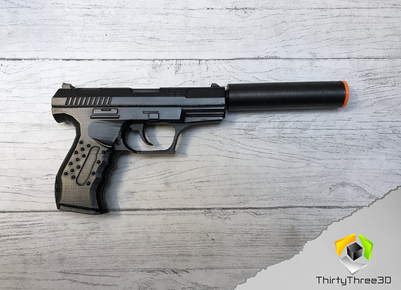 Walther P99 with silencer/suppressor, 3D Printed.