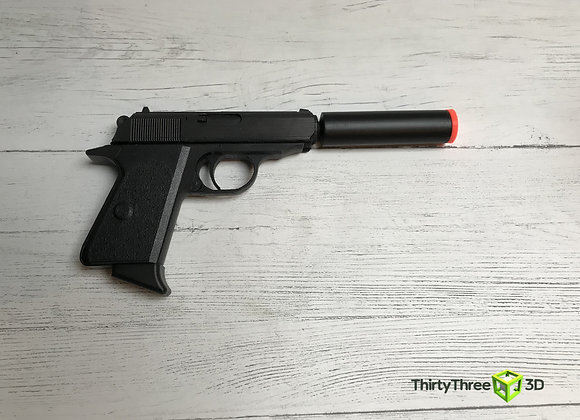 Walther ppk with silencer/suppressor, 3D Printed.