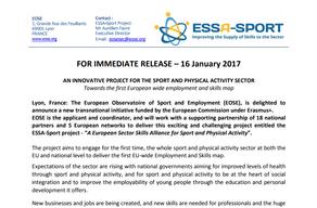 Nota de imprensa relativa ao projeto ESSA-Sport está disponível para disseminação