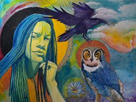 """Self Portrait: Raven and Owl,"" 2019"