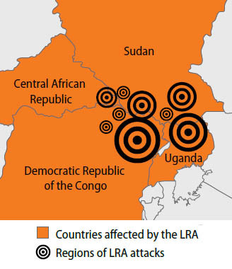 Map of areas affected by the LRA via Enough Project