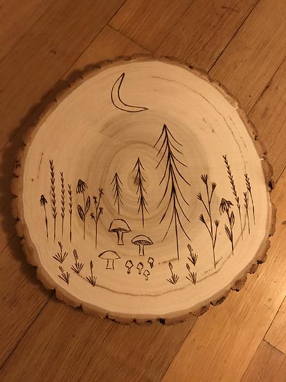 Moony scene - Wood burning