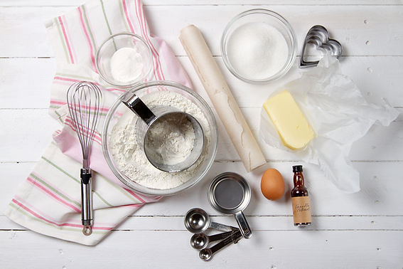 generic background image of general baking supplies / tools