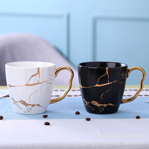 Nordic Golden Marble Cup Coffee Matte Ceramic Cup Cross-Border Express Mug
