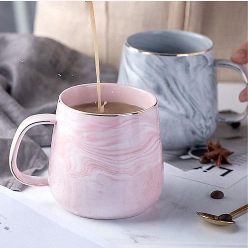 Pretty Marble Coffee Mugs Gold Inlay