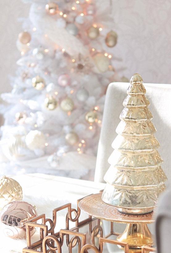 Rose Gold And Silver Christmas Tree.Enchanting Rose Gold Blush Silver And White Christmas