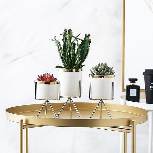 Flower Pot Set Ceramic Iron Art Flower Green Flowerpot Office Home Decoration