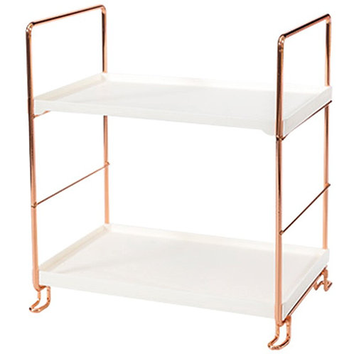Pretty Rose Gold Two Level Storage Rack