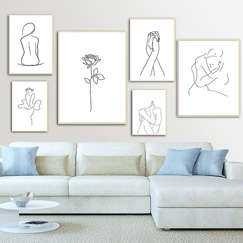 Abstract Lady Line Drawing Picture Home Decor Nordic Canvas Posters and Print