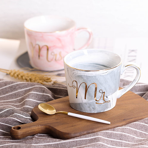 Pretty Marble Mr. and Mrs. Mug Set with Gold Rim