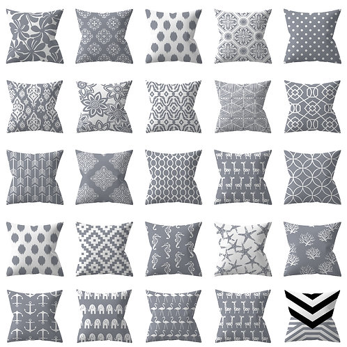 Pretty Silver Grey Throw pillow covers 18 x 18 in square