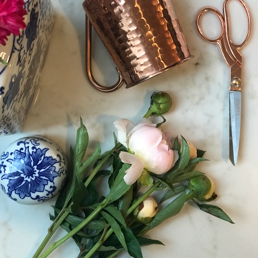Peonies and copper