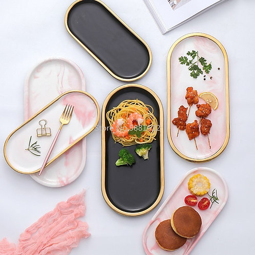 Gold Plating Marble Storage Tray Ceramic Europe Charger Plates Food Fruit