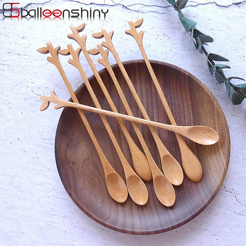 BalleenShiny Beech Dessert Spoons Creative Branch Coffee Milk Tea Stir Long Hand