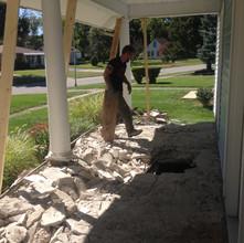 Concrete was broken up