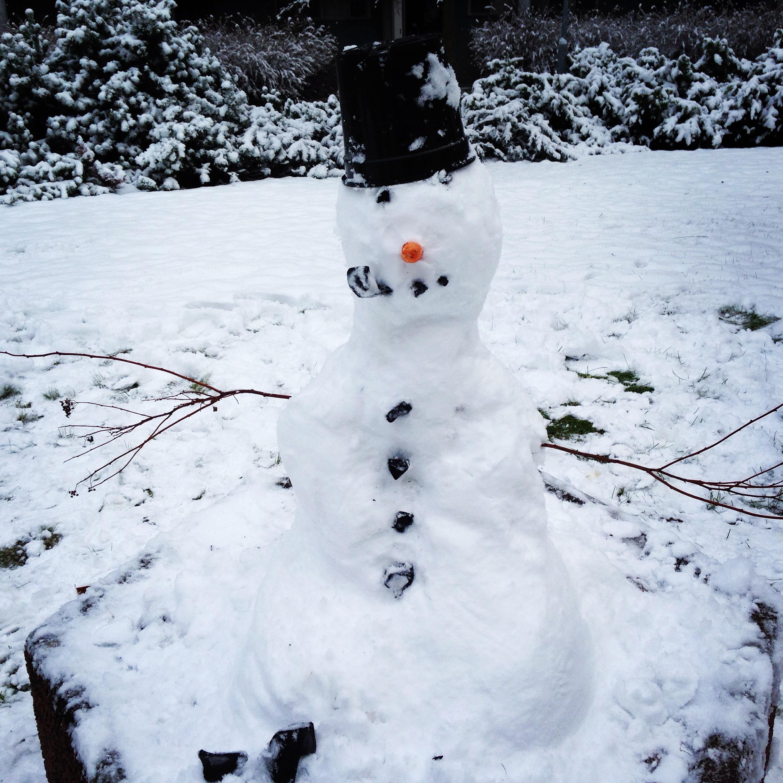 初雪の日に友達と雪だるま作り