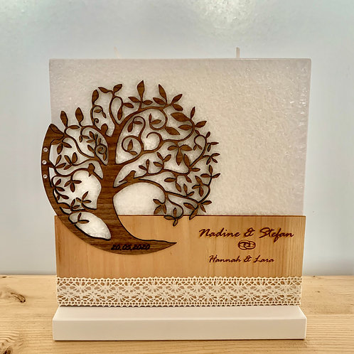 Hochzeitskerze  Lebensbaum 20x20 cm