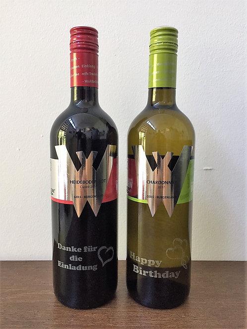 Flasche österr Bio-Qualitätswein mit Gravur