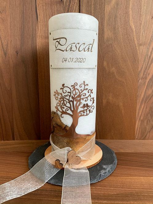 Taufkerze Holz rund