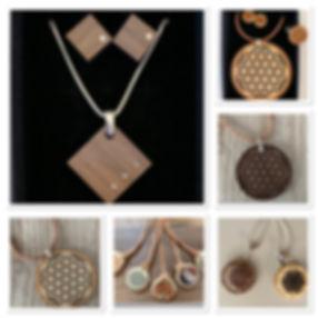 Trendiger Holzschmuck aus Zirbe, Nuss, oder Eiche, graviert oder  geschnitten. Veredelt mit Echtsilberschmuck und Swarovski-Steinen.  Sets sind individuell zusammenstellbar.