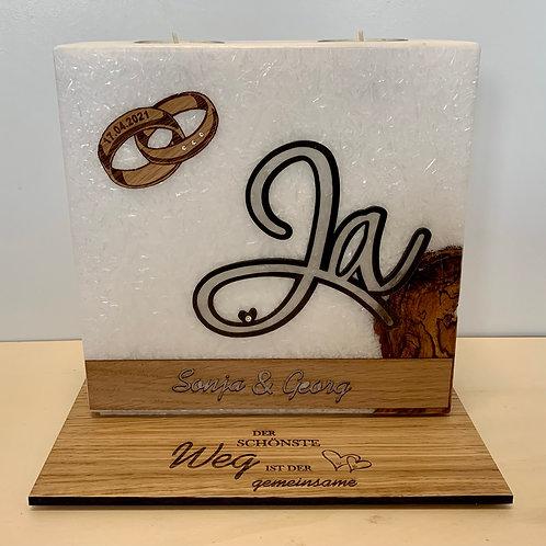"""Hochzeitskerze """"Ja"""" 20x20 cm"""