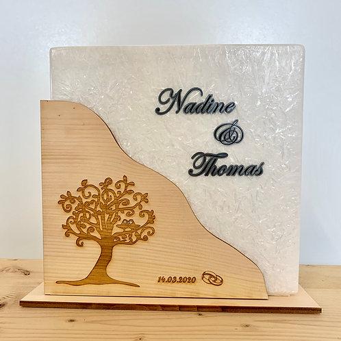 Hochzeitskerze mit Holzummantelung in Zirbe